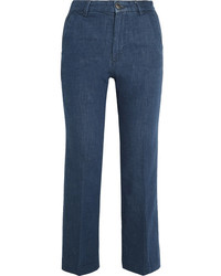 MiH Jeans Mih Jeans Coler Cropped Embroidered High Rise Flared Jeans Dark Denim