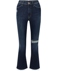 Mother The Hustler Distressed Cropped High Rise Flared Jeans