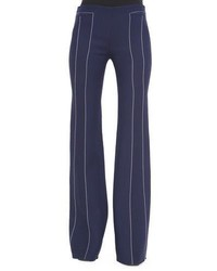 Derek Lam Contrast Seam Flare Trousers Navywhite