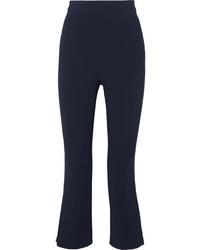 Cushnie Cropped Pleated Crepe Straight Leg Pants