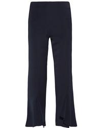 Cushnie et Ochs Julianne Ruffled Crepe Flared Pants Midnight Blue