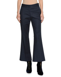 Piazza Sempione Kick Flare Stretch Cotton Pants Blue