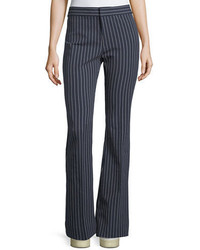 Derek Lam 10 Crosby Mid Rise Striped Flare Cotton Stretch Trouser