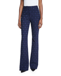 Lela Rose Sam Geometric Jacquard Flared Pants Navy