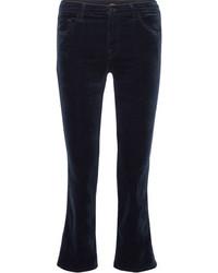 J Brand Selena Cropped Velvet Flared Pants Navy