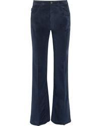 Prada Velvet Flared Pants Navy