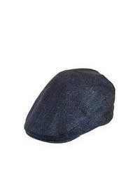 Jaxon hats navy herringbone flat cap medium 59921