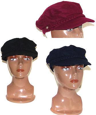 bb5c9d684cffe ... Nine West Newsboy Cap Hat Black Burgundy Navy Cabbie Conductor Hat Cap  New ...