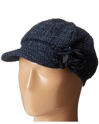 Scala Tweed Cap With Lurex And Flower Trim