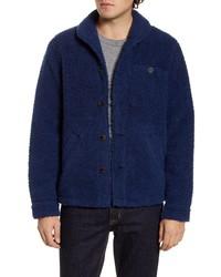 Navy Fleece Shirt Jacket