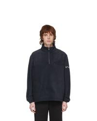 Stussy Navy Half Zip Mock Sweater