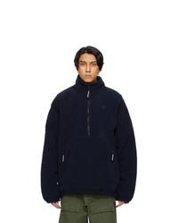 Balenciaga Navy Sherpa Half Zip Jacket