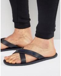 Armani Jeans Logo Cross Over Flip Flops In Navy