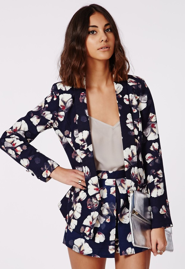 Missguided Lillion Floral Print Tailored Blazer Navy | Where to ...