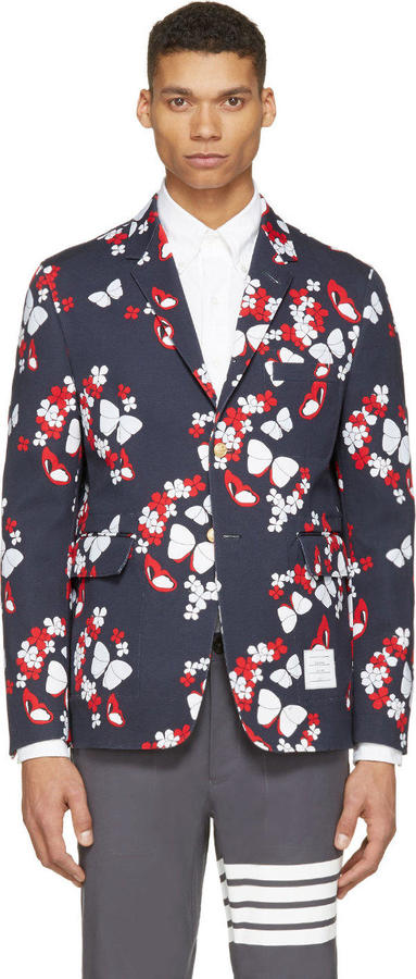 Thom Browne Navy Butterfly Print Blazer | Where to buy & how to wear
