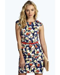 Boohoo jade floral belted cap sleeve bodycon dress medium 283961
