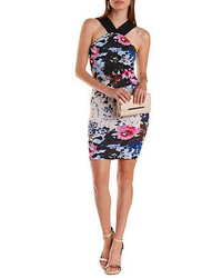 Charlotte Russe Floral Print Crossover Bodycon Dress