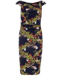 Jolie moi navy floral print ruched dress medium 283960