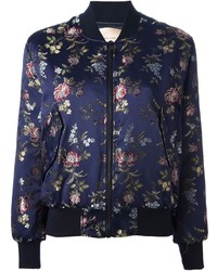 Cavallini erika semi couture floral jacquard bomber jacket medium 118532