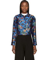Jw anderson blue floral splatter cropped bomber jacket medium 620457