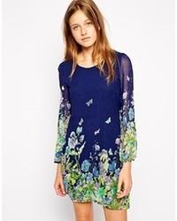 Shift dress in border floral print medium 91570