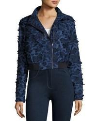Suri floral appliqu chambray bomber jacket dark blue medium 3714596