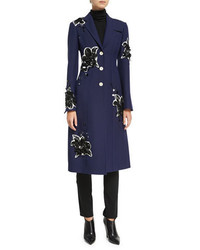 Derek Lam Floral Embellished Tailored Single Breasted Coat