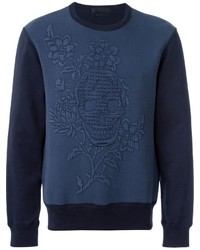 Navy Floral Crew-neck Sweater
