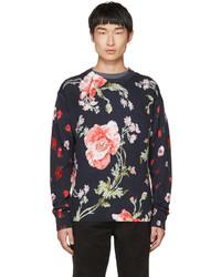 McQ Alexander Ueen Navy Thrift Store Florals Sweater