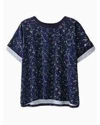 Blue roll sleeves t shirt with floral print medium 55825