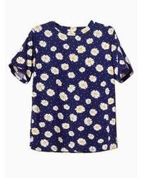 Daisy print t shirt in navy blue medium 55813