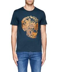 Nobrand Floral Skull Print T Shirt