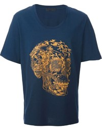 Floral skull print t shirt medium 119313