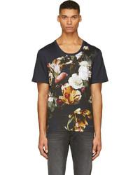 Navy floral paneled t shirt medium 119306