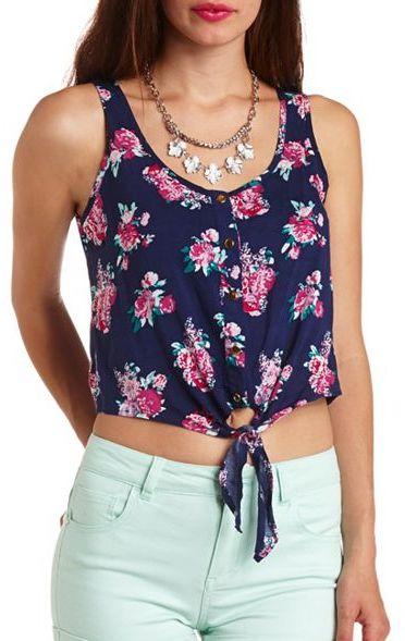 navy floral sleeveless tie-front crop top  L