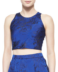 Alice + Olivia Kesten Floral Brocade Crop Top Blue