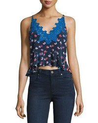 Sakura floral print lace trim camisole navy medium 1251027