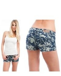 Stanzino Blue Rose Floral Denim Shorts