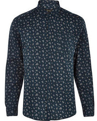 River Island Teal Ditsy Floral Paisley Long Sleeve Shirt
