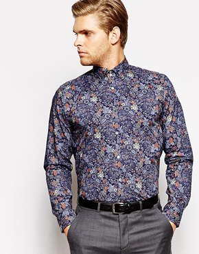 5c80b9927bd3 ... Dress Shirts Ted Baker Shirt With Floral Print Navy