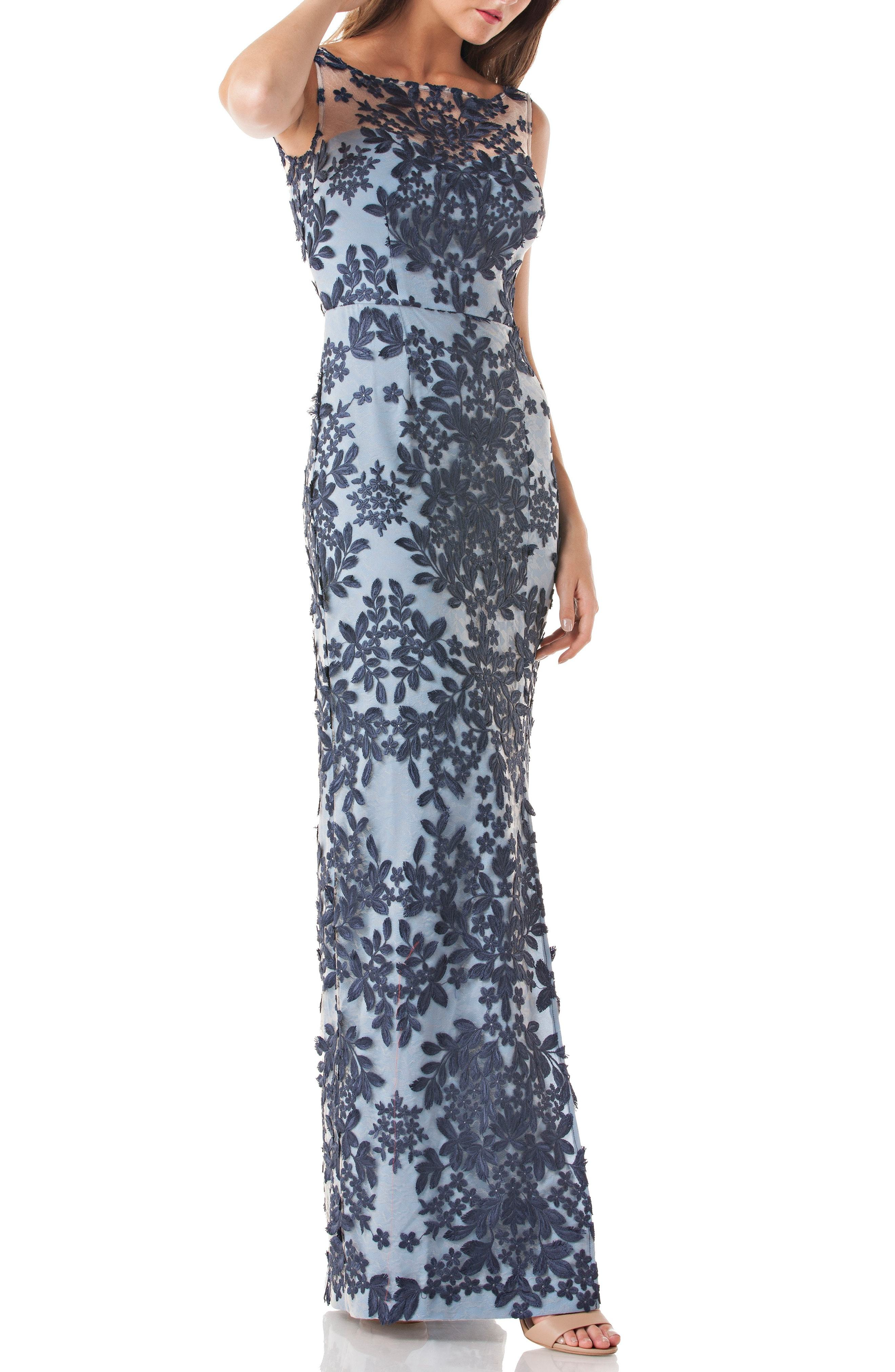 8e23a28a7d0 ... Navy Floral Evening Dresses JS Collections Leaf Embroidered Gown