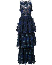 Marchesa Notte Floral Applique Layered Gown
