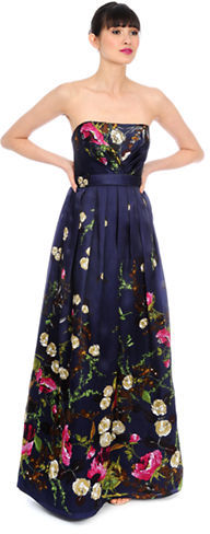 Kay Unger Silk Floral Print Pleated Gown | Where to buy & how to wear