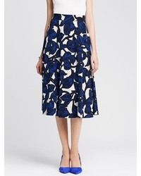 Banana Republic Floral Ponte Midi Skirt