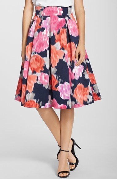 Eliza J Floral Print Faille Midi Skirt | Where to buy & how to wear