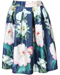 Floral pleated midi beige skirt medium 211760