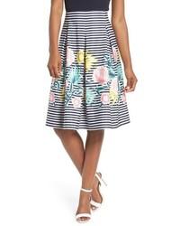 Eliza J Floral Stripe A Line Skirt