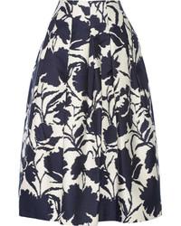 Oscar de la Renta Printed Cotton And Silk Blend Midi Skirt