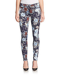 7 for all mankind floral print skinny jeans medium 187262