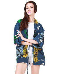 Choies Deep Blue Sunflower Print Lapel Kimono Coat